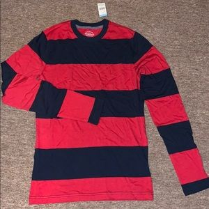 SMALL Navy and Red Striped LS Long Sleeve Shirt